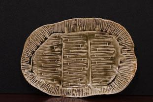 楕円皿ー信楽古陶(26x38)