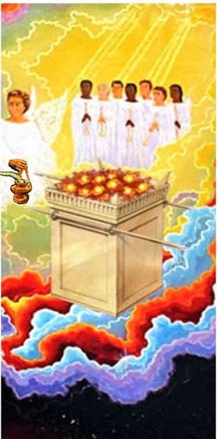 Sur l'autel d'or devant le trône du Tout-Puissant, la fumée des parfums monte devant Jéhovah avec les prières des saints. L'autel d'or qui se trouve devant le trône de Dieu réunit les fonctions des deux autels: offrande de sacrifices et de parfums.