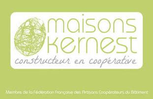 logo vert maisons kernest en forme de cocon sur un fond blanc