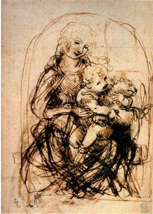 Léonard de Vinci, Étude pour la Madone au chat,  c. 1480,  plume  et  encre  brune,  13,2  x  9,6  cm,  ©Londres, The British Museum