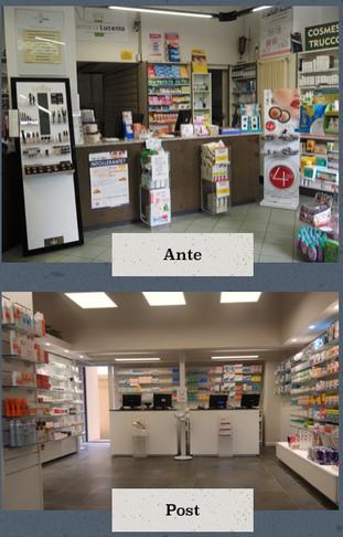 prima e dopo la ristrutturazione della farmacia