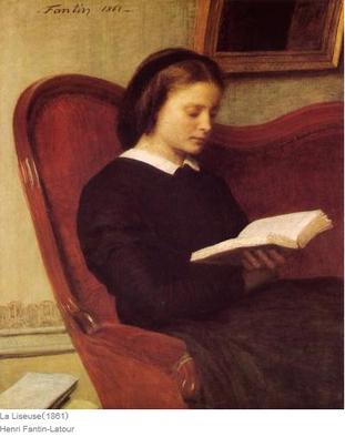 アンリ・ファンタン=ラトゥールの「読書をする女」
