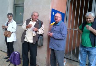...lors du déplacement à Bordeaux, pour la montée de la 2 (en avril 2014), entourés de Pierrot et JP