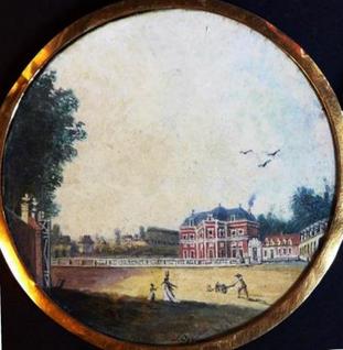 Louis Bélanger (1756-1816), Bagatelle façade principale, gouache sur vélin, 7,9cm, daté (1787) et signé / Musée Boucher-de-Perthes