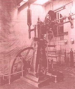 Fried. Krupp Essen, erster Dieselmotor, ein Versuchsmotor, auf dem Probestand, November 1897
