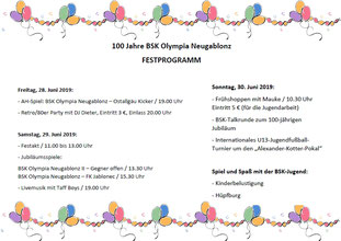 Festprogramm zum 100-jährigen Jubiläum