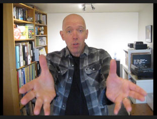 Screenshot of author Dave Cousins performing a virtual school visit via video link