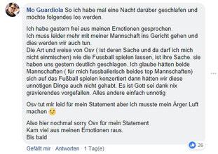 Die Öffentliche Entschuldigung der ASV Hamburg Trainers.