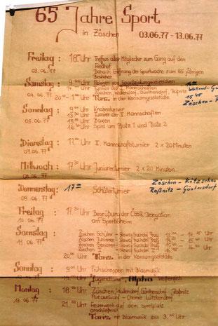 Das Programm zum Sportfest 1977