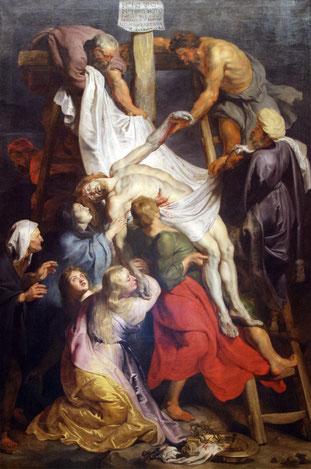 """Pierre Paul Rubens - """"La Descente de Croix"""" - 1616-1617 -  Toile exposée aux Beaux Arts de Lille."""