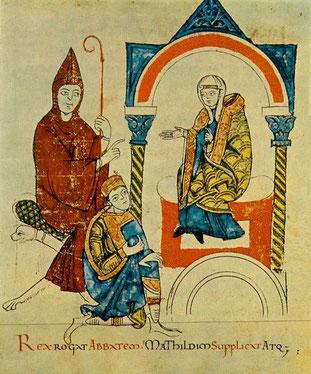Mathilde von Tuszien (rechts), mit Abt Hugo von Cluny und Kaiser Heinrich IV