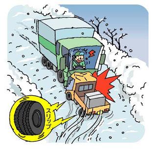 スリップによる正面衝突事故