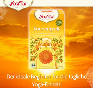 YogiTea Sonnengruß, der ideale Begleiter für die tägliche Yoga-Einheit.
