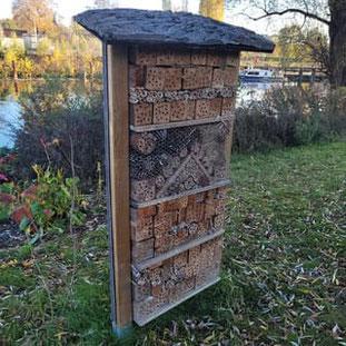 Insektenhotel - Vorgarten, Garten, Bienen, Bienenhotel, Wildbienen, Monokultur, Nutzpflanzen, Grundstück