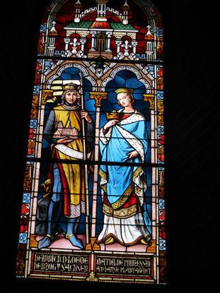 Stifterfenster im Ratzeburger Dom. Heinrich der Löwe mit Gattin Mathilde Plantagene