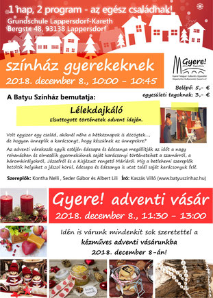 magyar nyelvü színház gyerekeknek, adventi vásár, regensburgi magyar iskola és óvoda, csigaház, Gyere! Magyar Kulturális Egyesület