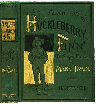 """Couverture du livre """"Les aventures de Huckleberry Finn/ Mark Twain 1884  [Domaine public]"""