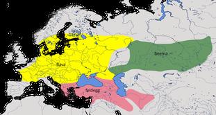 Karte zur Verbreitung der Schafstelze Typ dombrowskii (Motacilla flava 'dombrowskii')