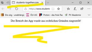 """""""students-together2: der Betrieb der App wurde aus rechtlichen Gründen eingestellt! Bild:spagra"""