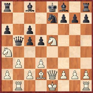 Milde - Vaccargiu: Schwarz spielte hier den positionellen Katastrophen-Zug 14. ... d4?? Leider ging Mathias an der Möglichkeit 15.Sc4! mit großem Vorteil für Weiß vorbei