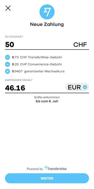 Bildschirmfoto der neon App mit TransfeWise-Zahlung
