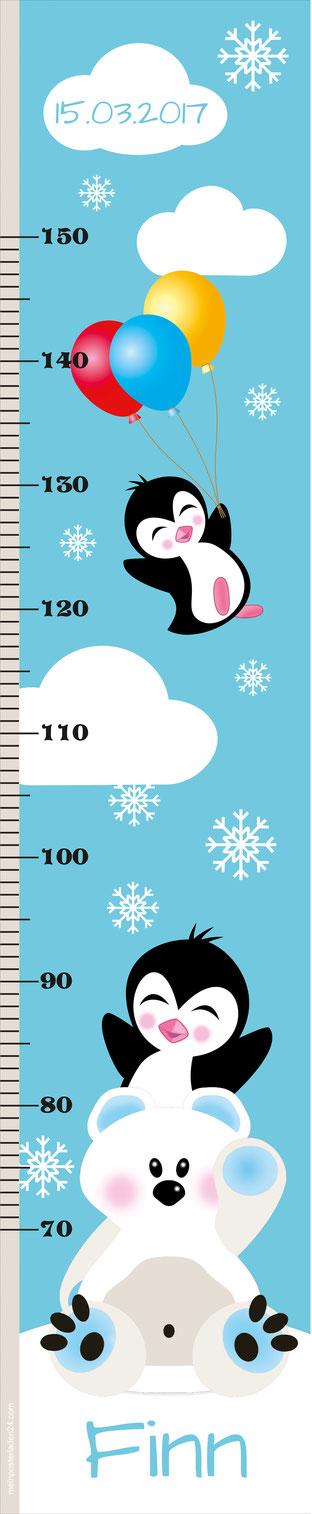 mit Name und Geburtsdatum personalisierbare Kindermesslatte mit kleinem Eisbär, Pinguine und bunten Luftballons, Schneeflöckchen und Wolken -  auf Posterpapier gedruckt oder als Wandaufkleber
