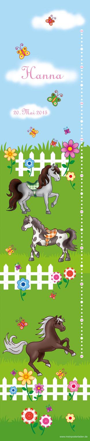 mit Namen und Geburtsdatum personalisierbare Kindermesslatte mit Ponys, Blumen und Schmetterlingen -  auf Posterpapier gedruckt oder als Wandaufkleber