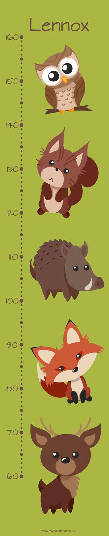 mit Namen  personalisierbare Kindermesslatte mit niedlichen Waldtieren, Hirsch, Fuchs, Wildschwein, Eichhörnchen und Eule -  auf Posterpapier gedruckt oder als Wandaufkleber