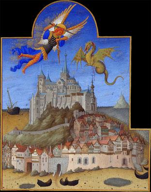 Frères Limbourg, Très Riches heures du Duc de Berry, Mont Saint-Miche!, La Fête de l'Ange, fol 195r, Musée Condé, Chantilly