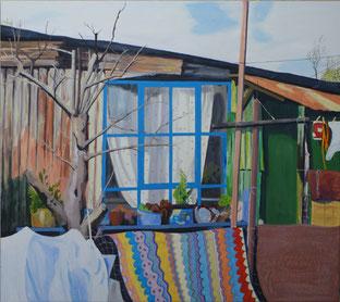 Baracke, 2008, Öl auf Leinwand, 170 x 190 cm