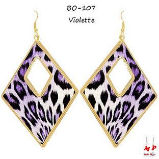Boucles d'oreilles losanges léopards violettes et dorées