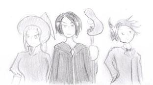 Hexe, schwarzer Priester und Zauberer