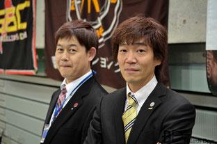 川端プロ(JPBA。右)&大島事務局長。昔から親交深い2人