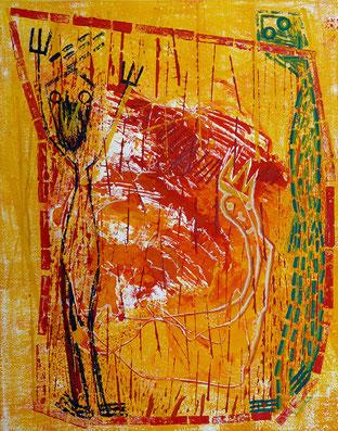 Im Gefecht: Monotypie, Materialdruck, Zeichnung auf Papier, 52 x 41 cm, 2009