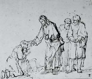 In den Augen Rembrandts beobachtet der Zeitgenosse den heilenden Christus mit ungläubigem Staunen.