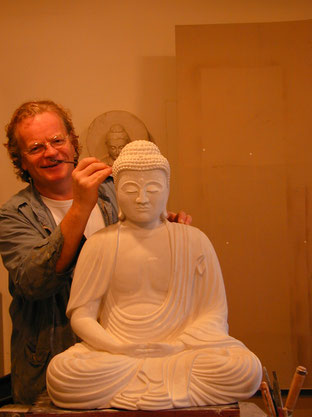 Harald Fauska at his Studio for Buddhist Sculptures