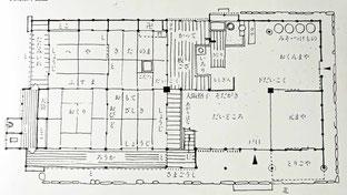 昔ながらの民家の大黒柱と小黒柱(恵比寿柱)