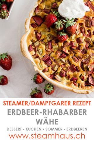 Dampfgarer Rezept: Erdbeer-Rhabarber-Wähe.