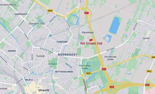 Google Maps afbeelding met locatie pinpoint Groene Dak