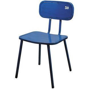 Drina Alutec silla vintage metálica de cafeteria restaurante con número, numeración en respaldo