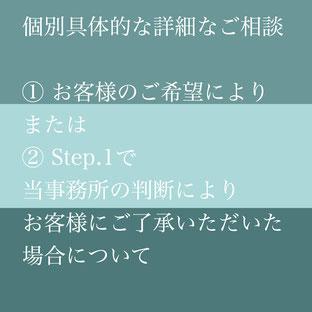 各種在留資格(ビザ)申請・帰化許可申請(日本国籍取得)等ご相談の流れ STEP1個別の面談によるご相談もございます。