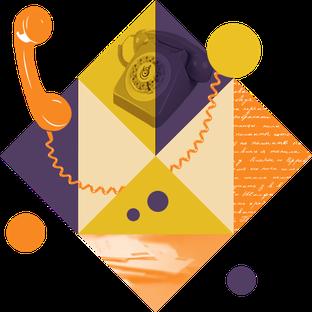 Visuel géométrique façon vintage pour illustrer la page contact des sabots d'isa, avec un vieux téléphone à cadran portant le logo de l'atelier