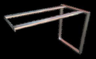 Estructura de diseño en acero inoxidable para mesa.
