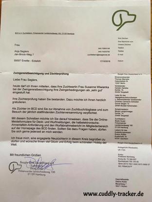 Der erlösende Brief der Zuchtleitung des BCD e. V.