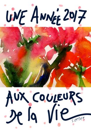 #SylvieLander-fleurs-paeonia-voeux-peinture-Sylvie Lander