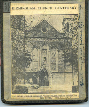 All Saints Church Centenary booklet 1933. Image from the Hibbitt Family website and used with the kind permission of Annie Barnes. See Acknowledgements.