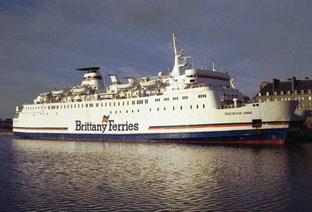 Duchesse Anne, a ship bought in 1988 by Brittany Ferries, fetaured laid up in Saint-Malo, alongside Armorique.