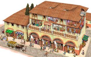 Ricostruzione di un'insula di Ostia