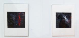 """Zwei Bilder der Reihe """"Farbe"""" von 2014 in der Ausstellungsituation auf Zeche Zollverein"""