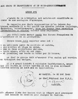 20 Mai 1944 Ordre de mobilisation générale des maquis FFI de la région R6 Auvergne tous confondus